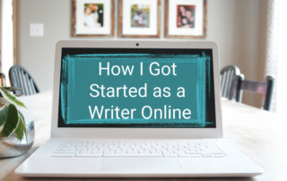 Open laptop sitting on a white table with plant and pictures in the background. Graphic and title of blog post in top right corner.