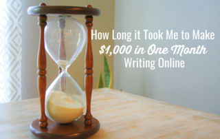Hourglass on table with blog title How long it took me to make $1,000 in one month writing online