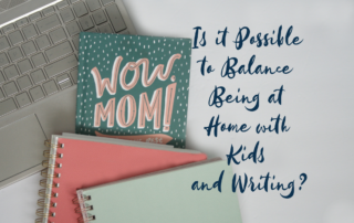 "Laptop with mom book and spiral notebooks ""Is it possible to balance being at home with kids and writing?'"
